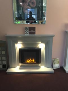 "Vitalia grey marble fireplace 54"" with lights"
