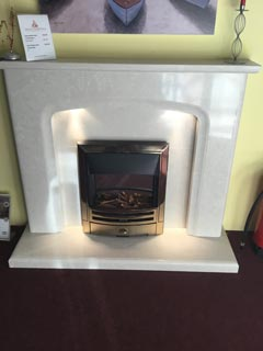 "Siena marble fireplace 54"" with lights in pearl stone colour"